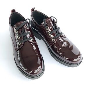 Patent Leather Oxfords in Deep Burgundy | NWOT